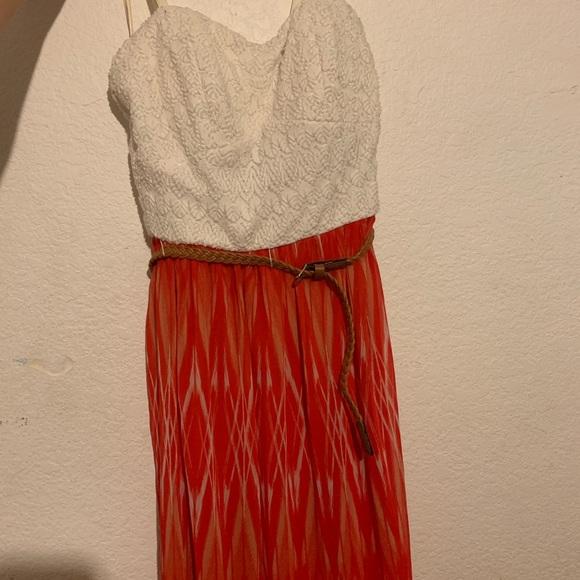 Lily Rose Dresses & Skirts - Orange and White Maxi Dress